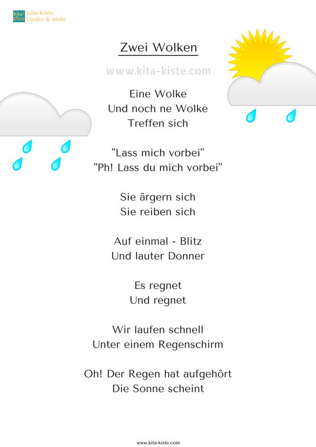 Fingerspiel Wetter Wolken Regen Donner Kindergarten