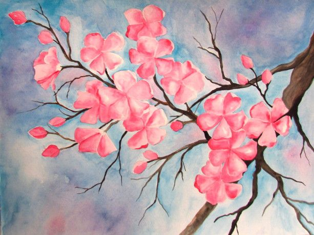 Cherry Blossom Watercolor Painting: Two great versions of a cherry blossom painting using watercolor paints, step by step instructions with pictures.