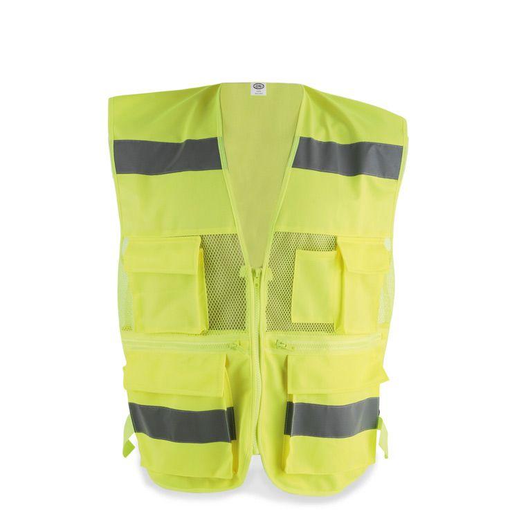 Un completo chaleco de seguridad personalizado para obra y trabajo con  multibolsillos para guardar las herramientas 1bfdf183d8ba