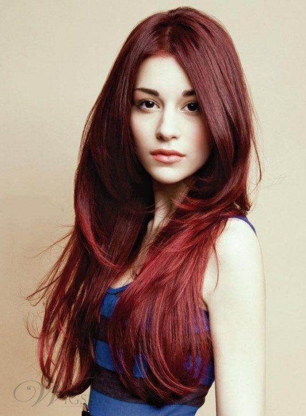 cortes de pelo largo melenas a capas escalado pelo rojo