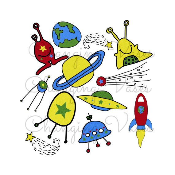 Outer Space Graphics Alien Clipart Monster Clip Art Spaceship Earth Star Satrun Planet Galaxy Illustrations Elements PNG Blue Red Yellow