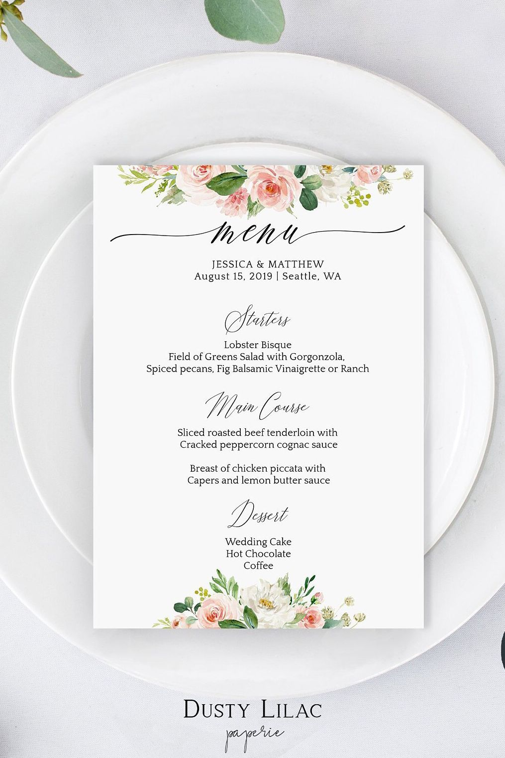 Blush Pink Floral Wedding Menu Template Editable Dinner Menu Etsy Menu Card Template Wedding Menu Template Wedding Menu Cards