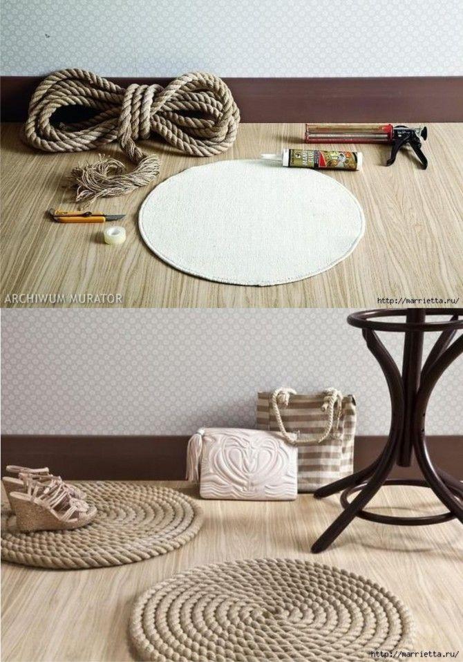 Un ingenioso DIY para crear una alfombra de cuerda. Vía muyingenioso.com. #MWMaterialsWorld #cuerda #manualidades
