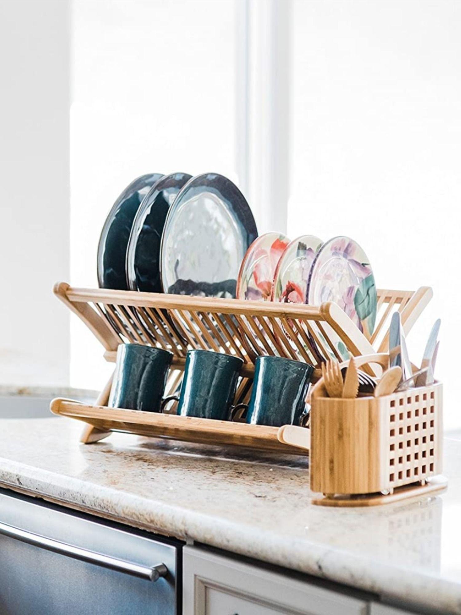 Dish drying rack in 2020 bamboo dishes dish rack drying