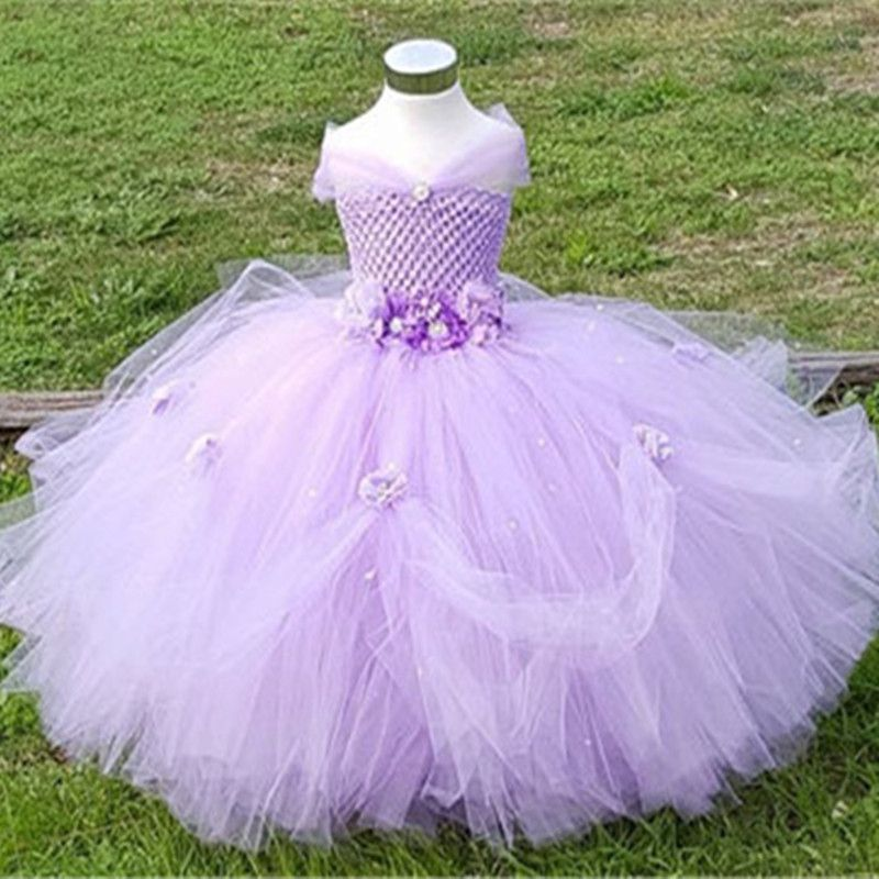 12ca9a3b07c0a 1-8Y Princess Tutu Tulle Flower Girl Dress Kids Party Pageant ...