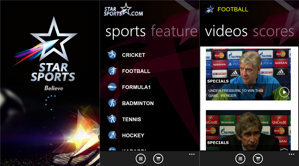 Star Sports Application Windows Phone devices The Star