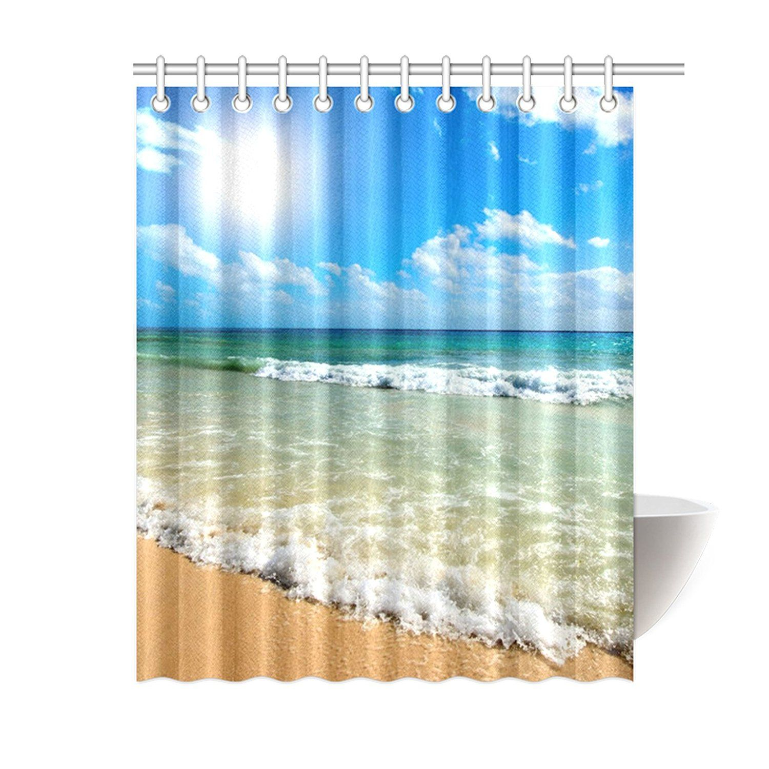 Tropical Beach Waves Shower Curtain With Images Nautical