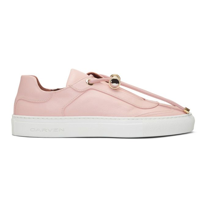 CARVEN Pink Leather Mabillon Sneakers. #carven #shoes #