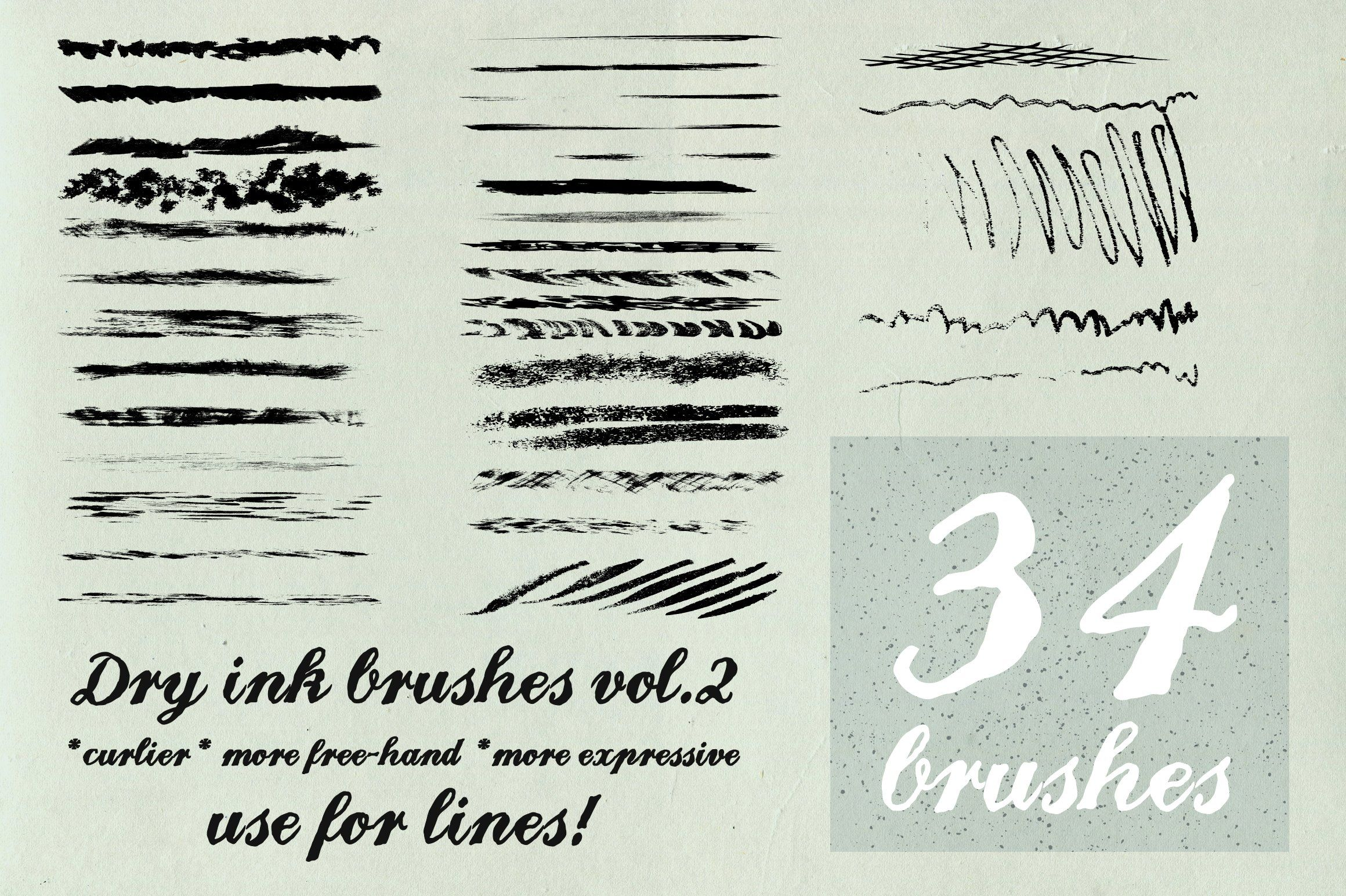 Dry Ink Brushes Vol 2 Scatter Lines Ink Brush Illustrator