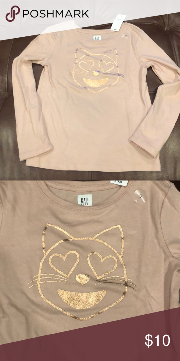 d6bcd812 With a kitty face in rose gold sparkle. Cute heart shaped eyes. New with  tags never used. Size small. Gap Kids Shirts ...