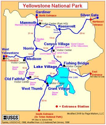 Map Of America Yellowstone National Park.Yellowstone National Park Entrance Map Yellowstone Yellowstone