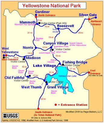 Map Of North America Yellowstone National Park.Yellowstone National Park Entrance Map Yellowstone Yellowstone