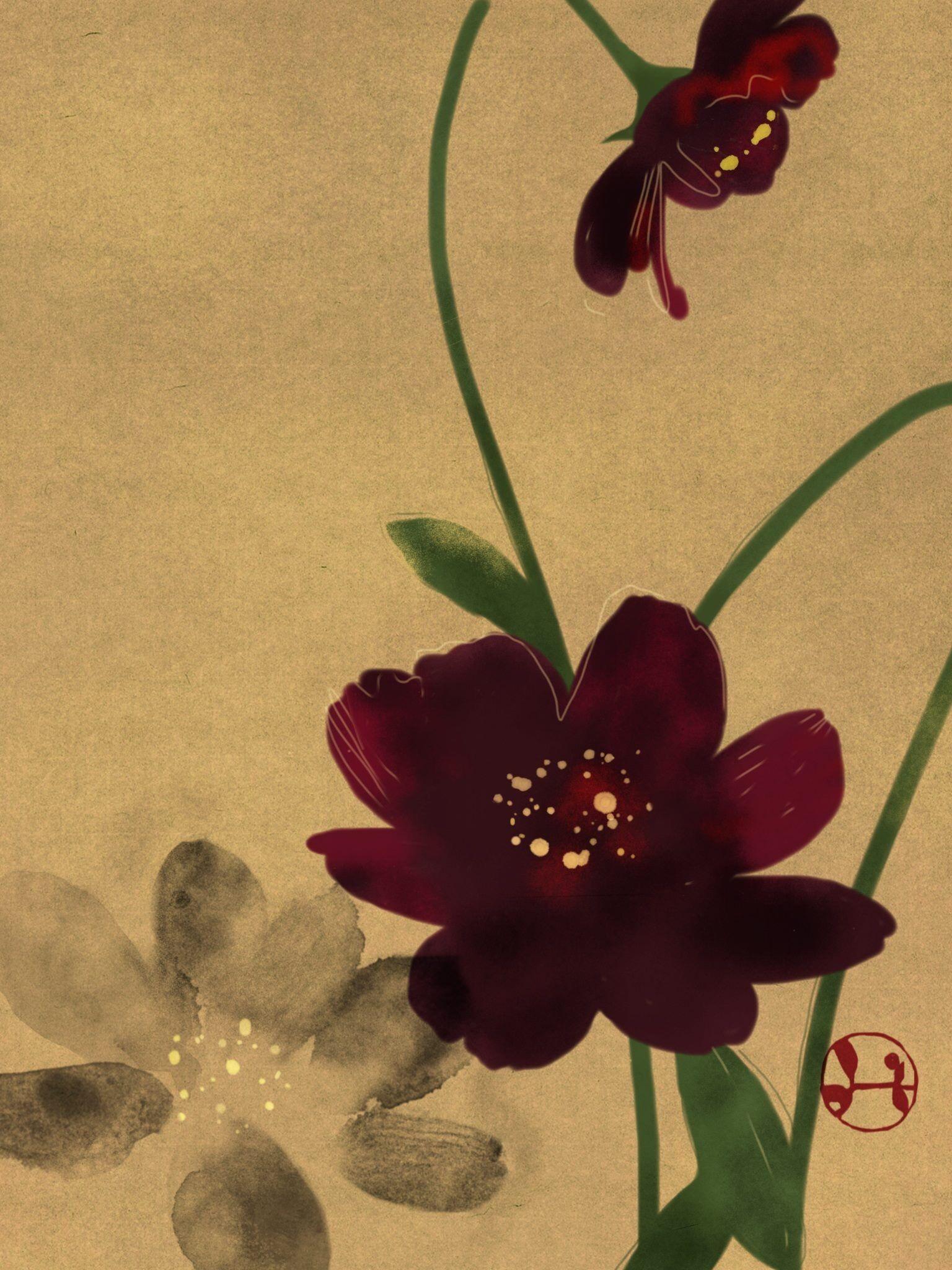 Hidetoshi Mito Cosmos Japan Painting Japanese Painting Flower Art