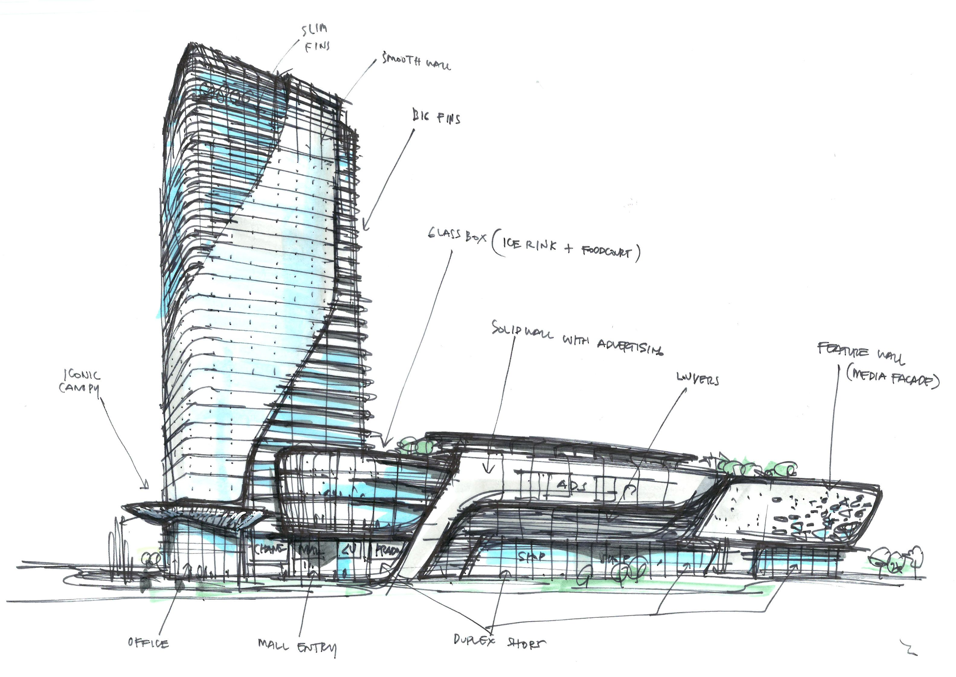 Mixed use concept i randy carizo architecture sketches l for Contemporary architecture design concept