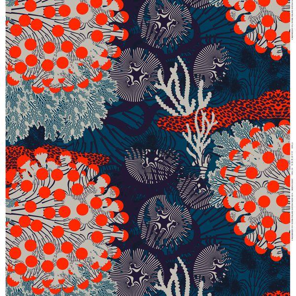 Merivuokko kangas, turkoosi