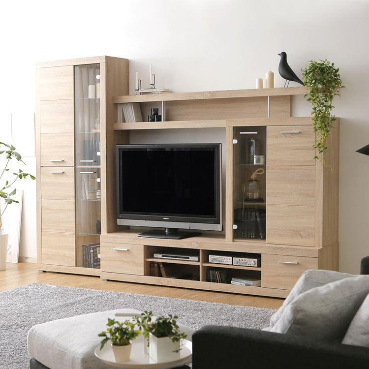 北欧デザイン ハイタイプテレビ台 ナチュラルカラーがおしゃれ 選べる2サイズ 薄型対応の大容量壁面収納ボード 家具のアイデア インテリアアイデア 壁面収納