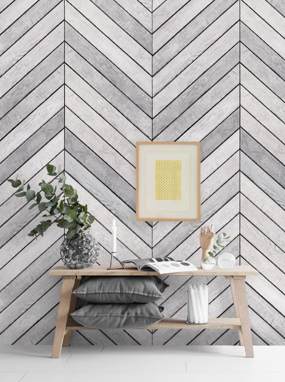 Chevron Grey White Wood Accent Mural Wall Art Wallpaper Peel And Stick Accent Wallpaper Wood Accent Wall Wall Art Wallpaper