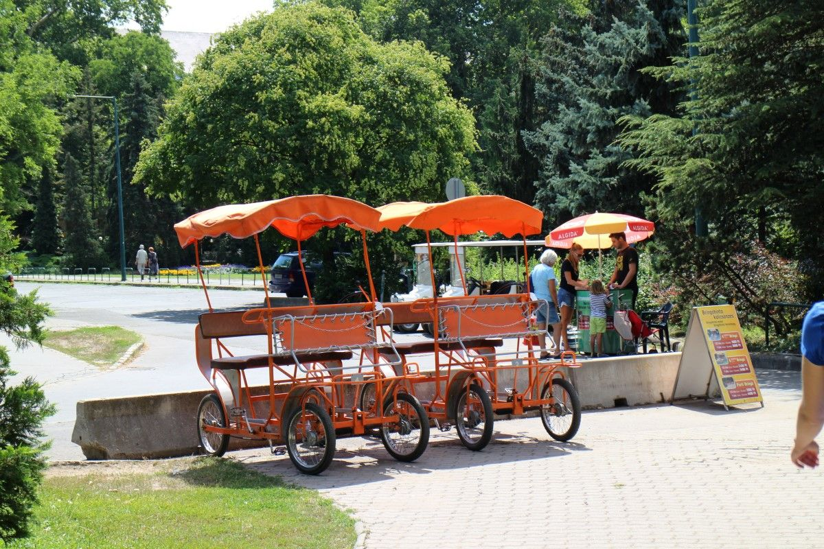 The bringo cart a fun way to explore the island - Margaret island budapest swimming pool ...