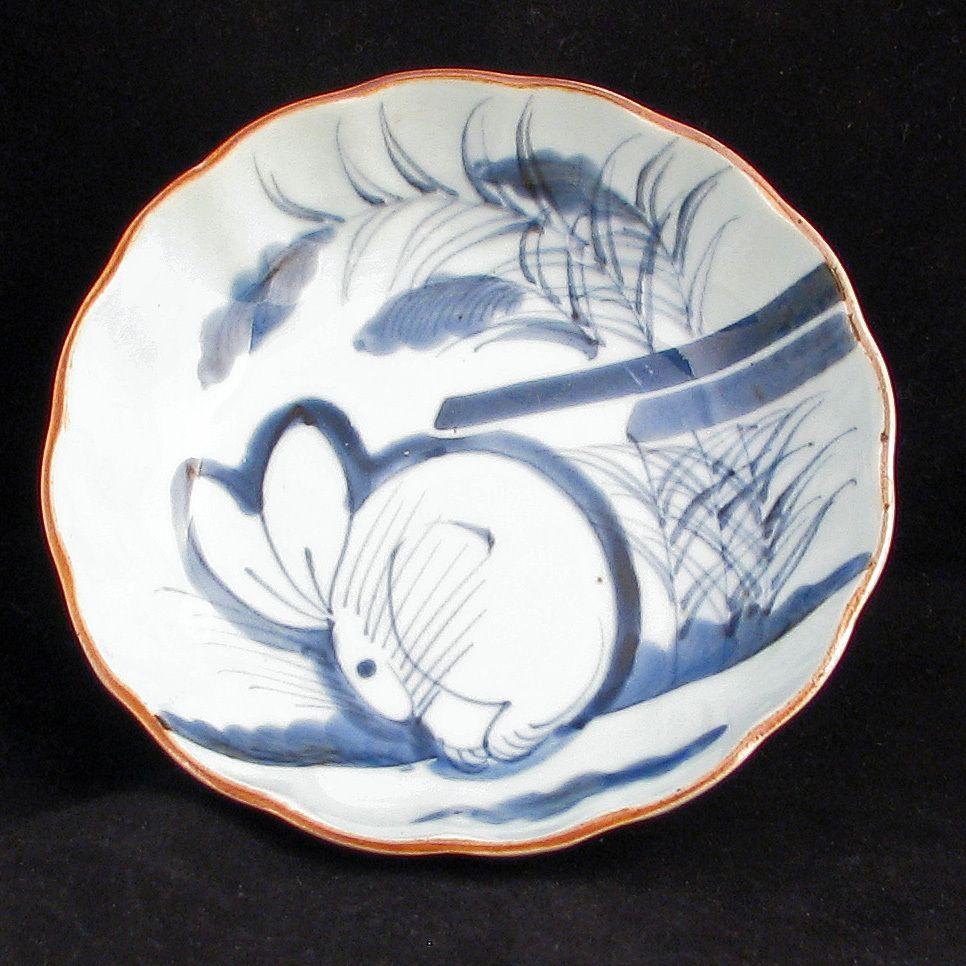Japanese Blue and White Imari Porcelain Dish with Rabbit Design 19th Century…