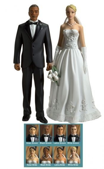 Interracial Interchangable Bride and Groom Wedding Cake Topper- More ...