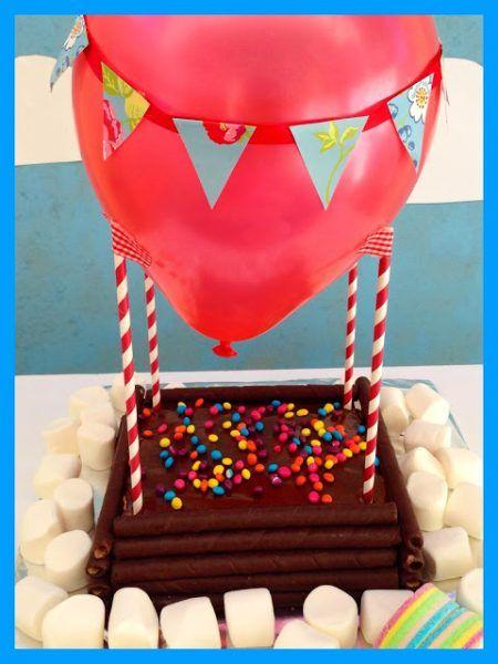tarta para cumpleaos con globo aerosttico fiestas y cumples - Fiestas Y Cumples