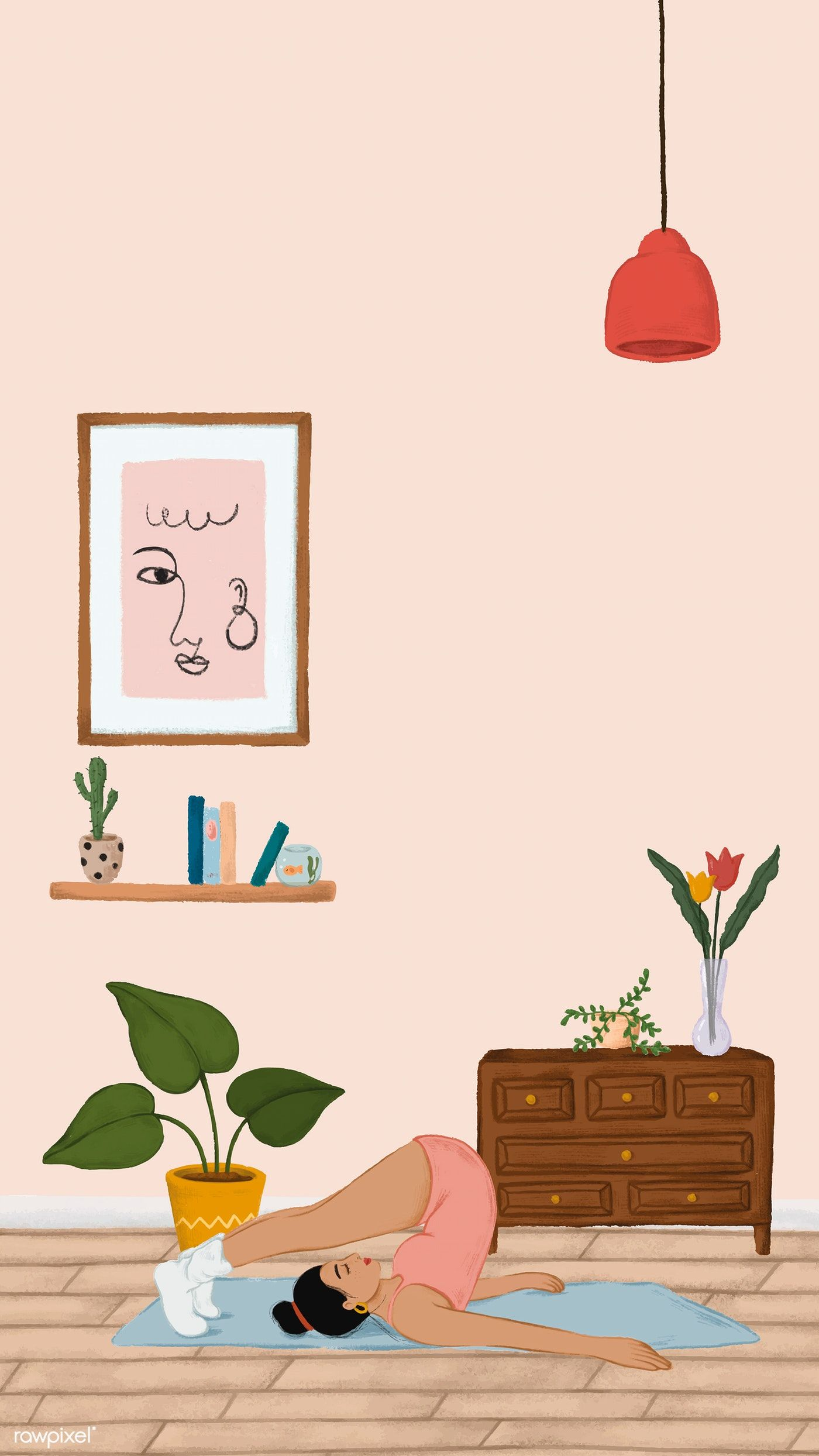 Download premium vector of Girl doing a Halasana yoga pose sketch style mobile phone wallpaper vector by Noon about light cute, story, illustration apartment, vase vector, and interior design 1227417