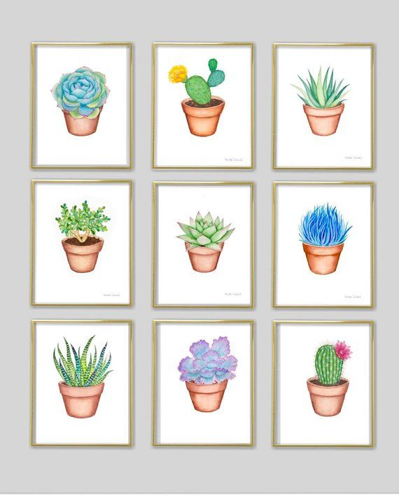 Photo of Succulent watercolor art print. Cactus painting. Plant wall art. Cute botanical print. Potted cactus illustration. Modern plant room decor.