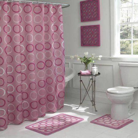 Bath Fusion Terrell 15 Piece Shower Set Walmart Com Bath Rugs Sets Shower Curtain Sets Shower Set