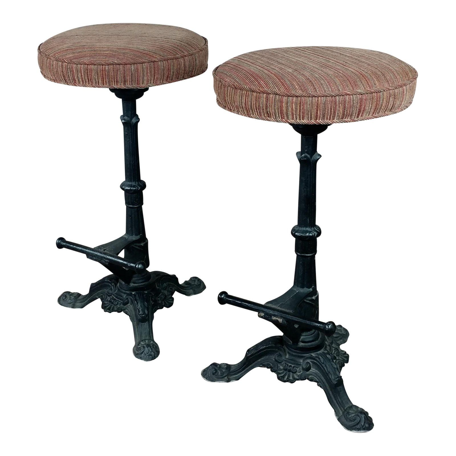 Beautiful Victorian Cast Iron Bar Stools Circa 1890s A Pair Upholstered Rotating Round Seats Size 17 X 17 X 30 Iron Bar Stools Bar Stools Stool