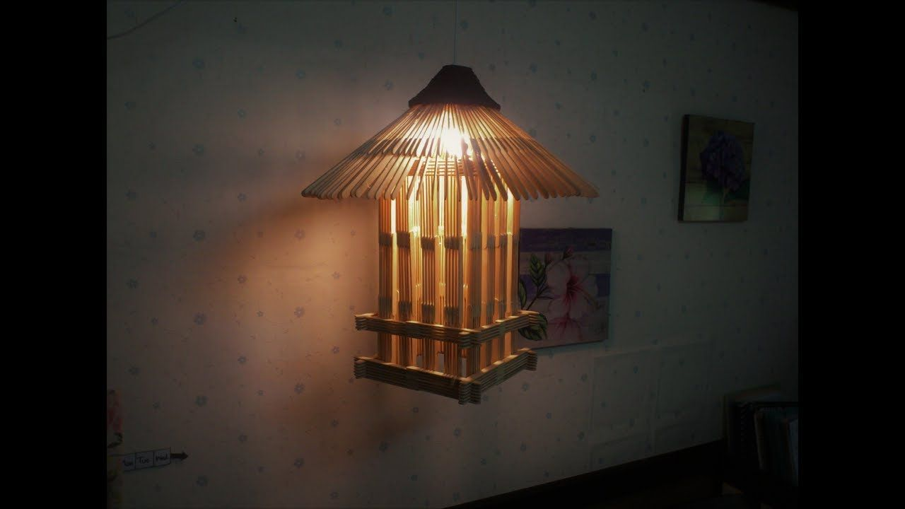 D I Y Lamp From Popsicle Sticks Newspaper Hanging Youtube Hanging Wall Decor Popsicle Sticks Popsicle Stick Crafts