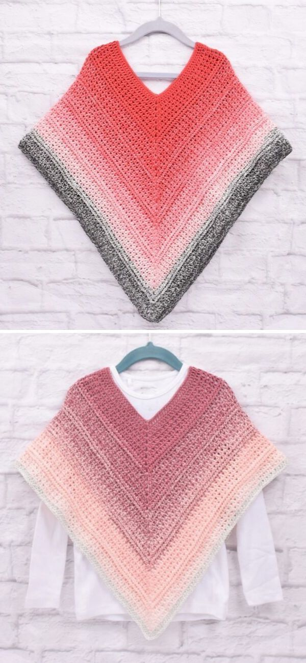Easy Crochet Poncho for Sweethearts and Moms