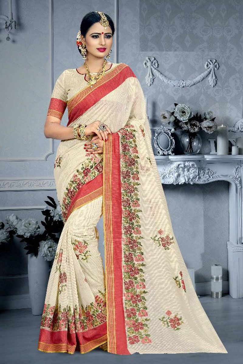 Yellow cotton saree for wedding offwhiteweddingwearcottonsareewithblousefabric