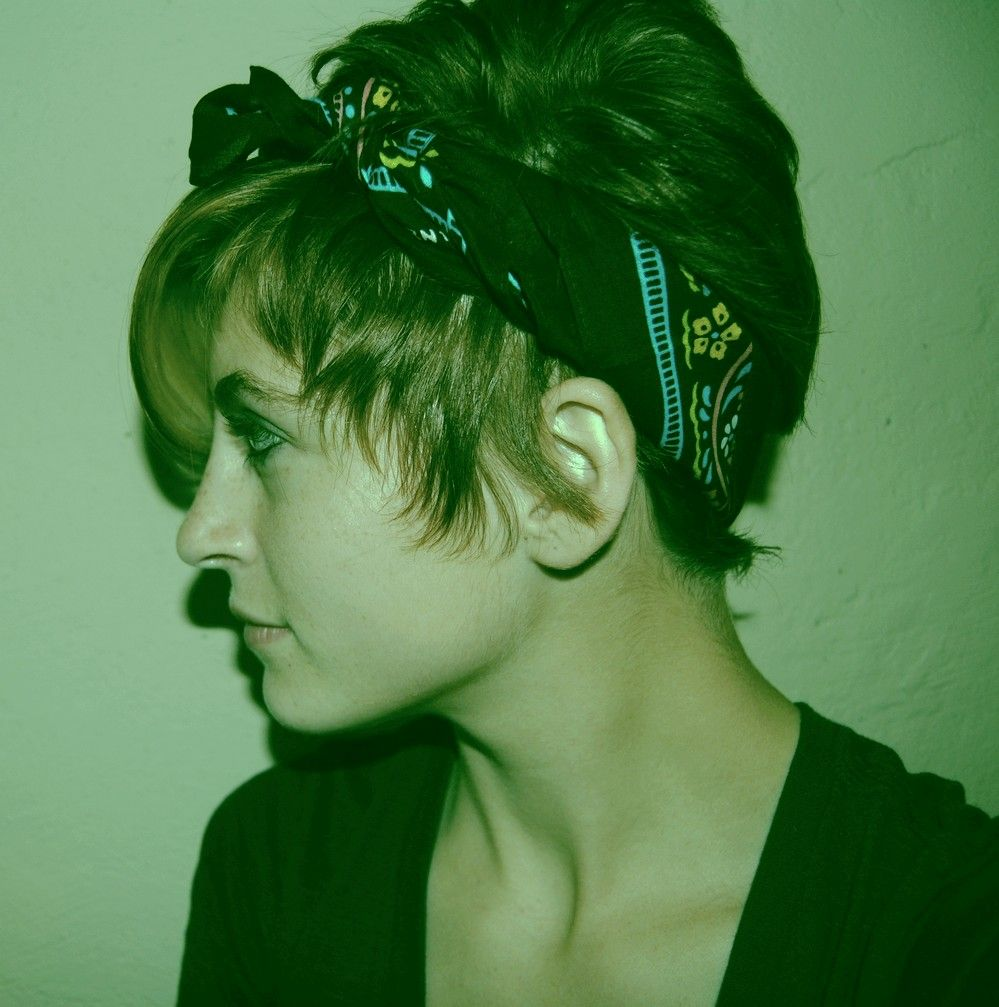 Short hair and bandana i donut think iull go this short again bu