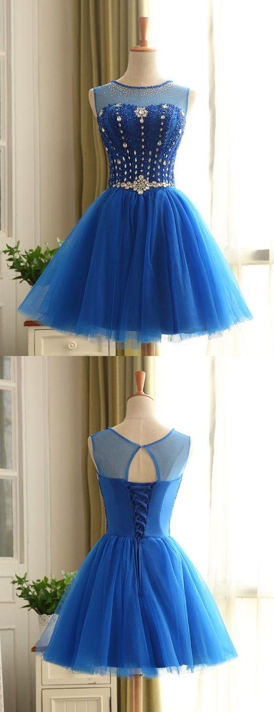 Blue beadingrhinestone bodice homecoming dress ed