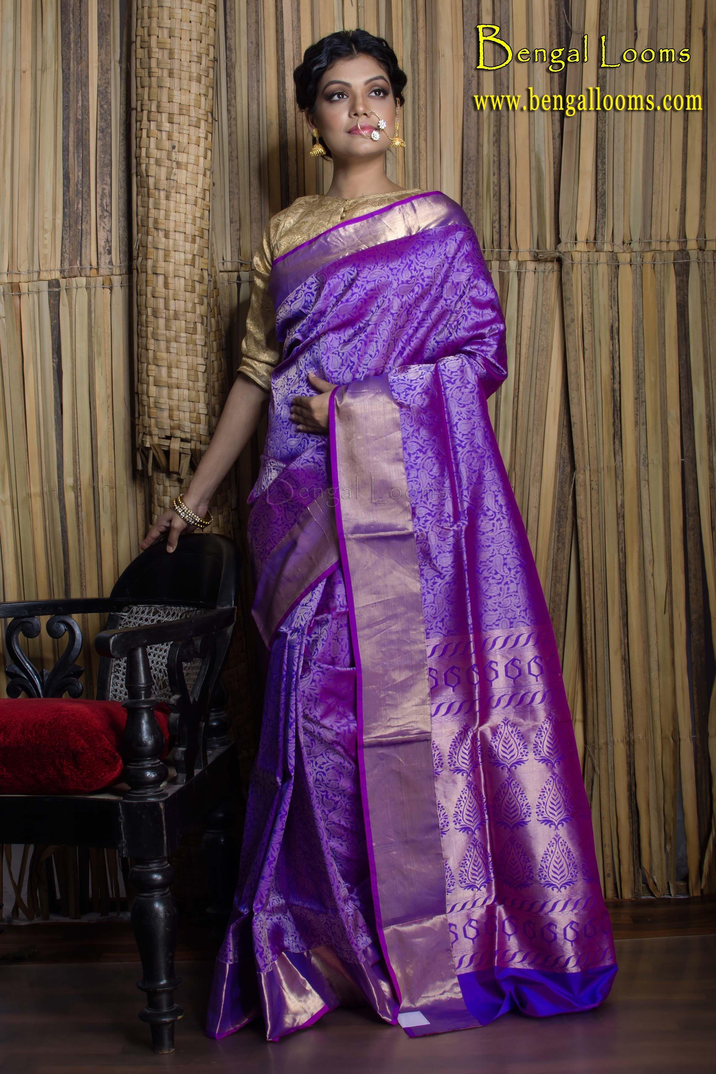 Pure Brocade Katan Silk Saree in Purple and Gold   Silk sarees ...