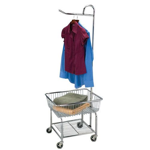 Chrome Wire Laundry Cart With Valet Hanger And Basket Laundry
