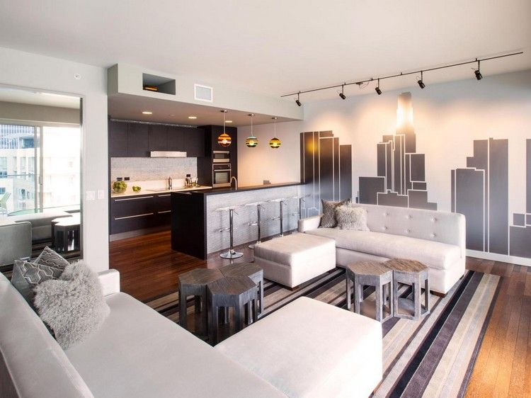 wohnzimmer und küche in grau, weiß und schwarz | ideen für zu, Hause ideen