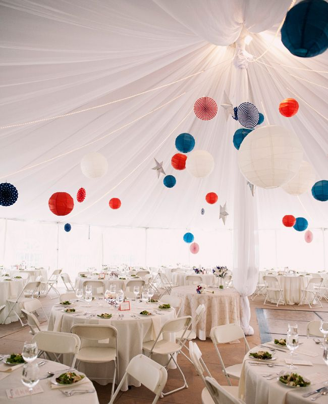 Classy Red, White & Blue lanterns and hanging wedding decorations. #July4Wedding #Patriotic #RedWhiteBlue