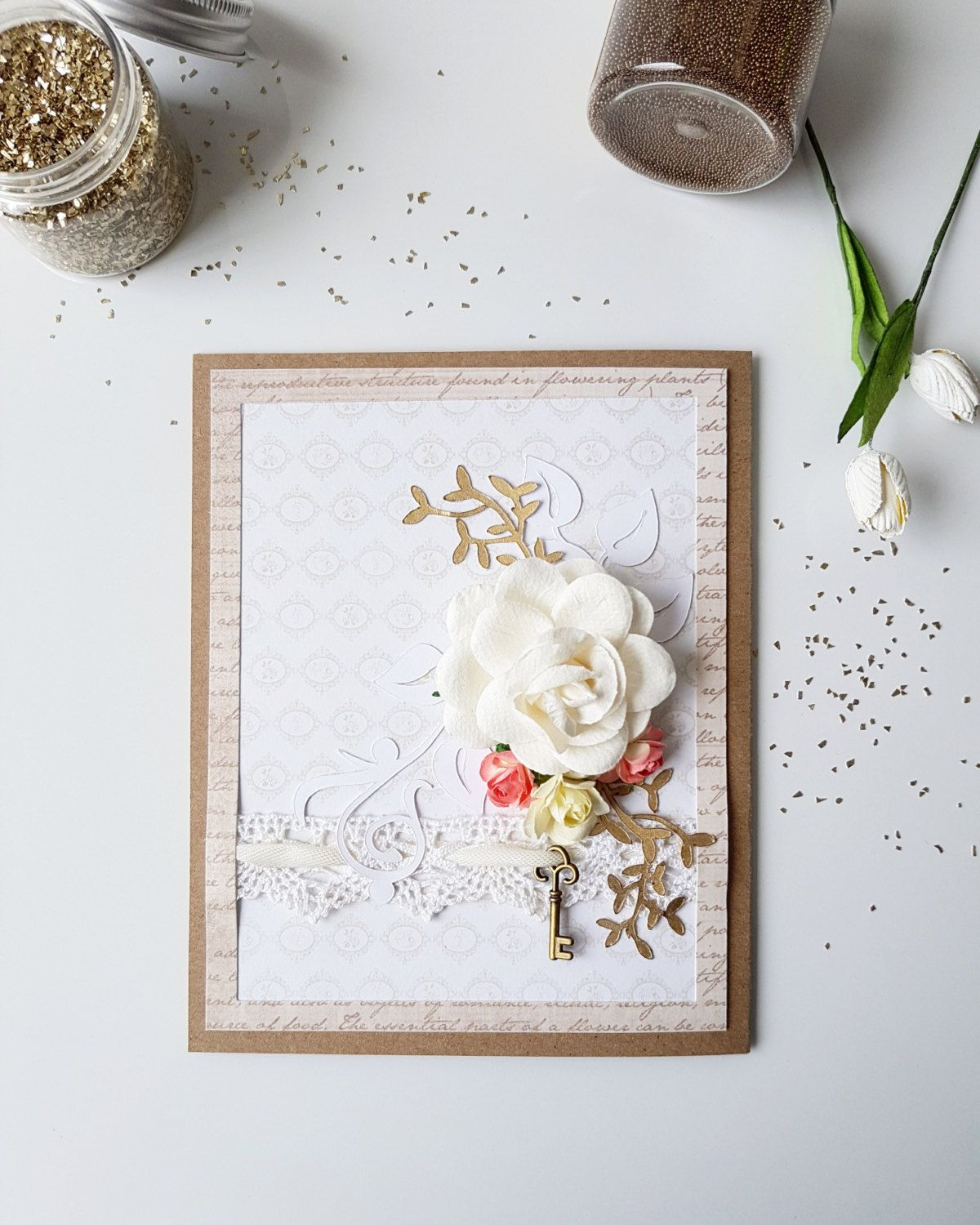 Handmade Greeting Card Gift For Mom Paper Flowers Girlfriend Shabby Chic Romantic Wedding Personal Cards