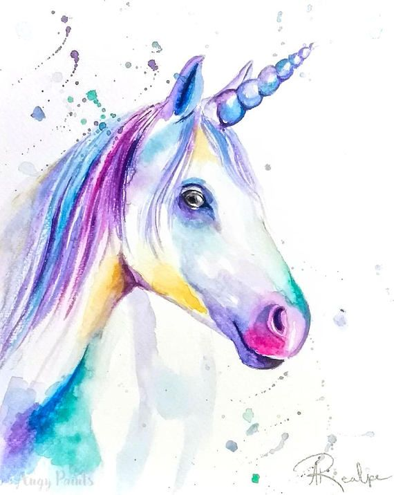 Unicorn Watercolor Art Original Artwork Original Watercolor