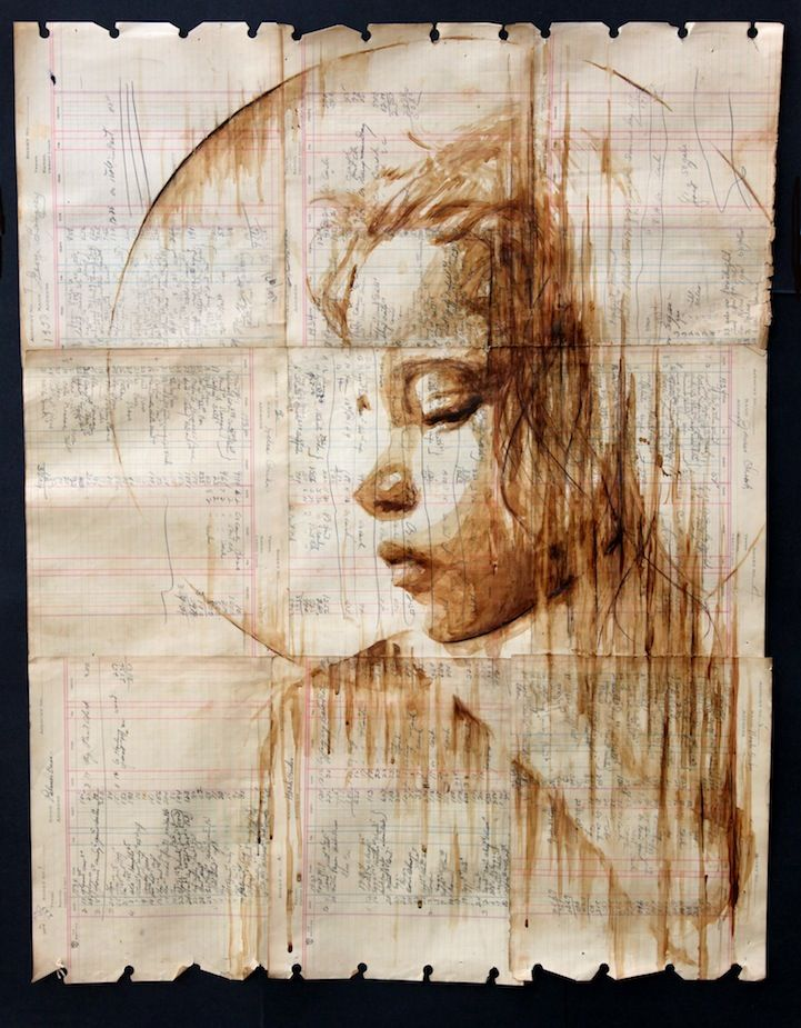While you may know Michael Aaron Williams as artist who places beautiful cardboard cut-outs of homeless people on the street, you may not know that he's also very skilled at creating portraits using everyday materials like books or rusty sheets of metal.