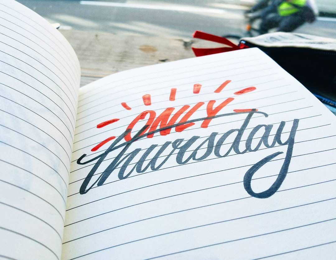 ONLY Thursday  #type #typography #handtype #handlettering #moleskine #thedesigntip #thedailytype #handmadefont #calligritype #calligraphy #logotype #creative #goodtype #brushtype #script #casual #posca #letteringco