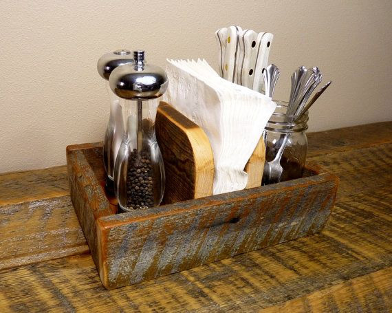 Rustic Napkin Holder And Condiment Caddy By