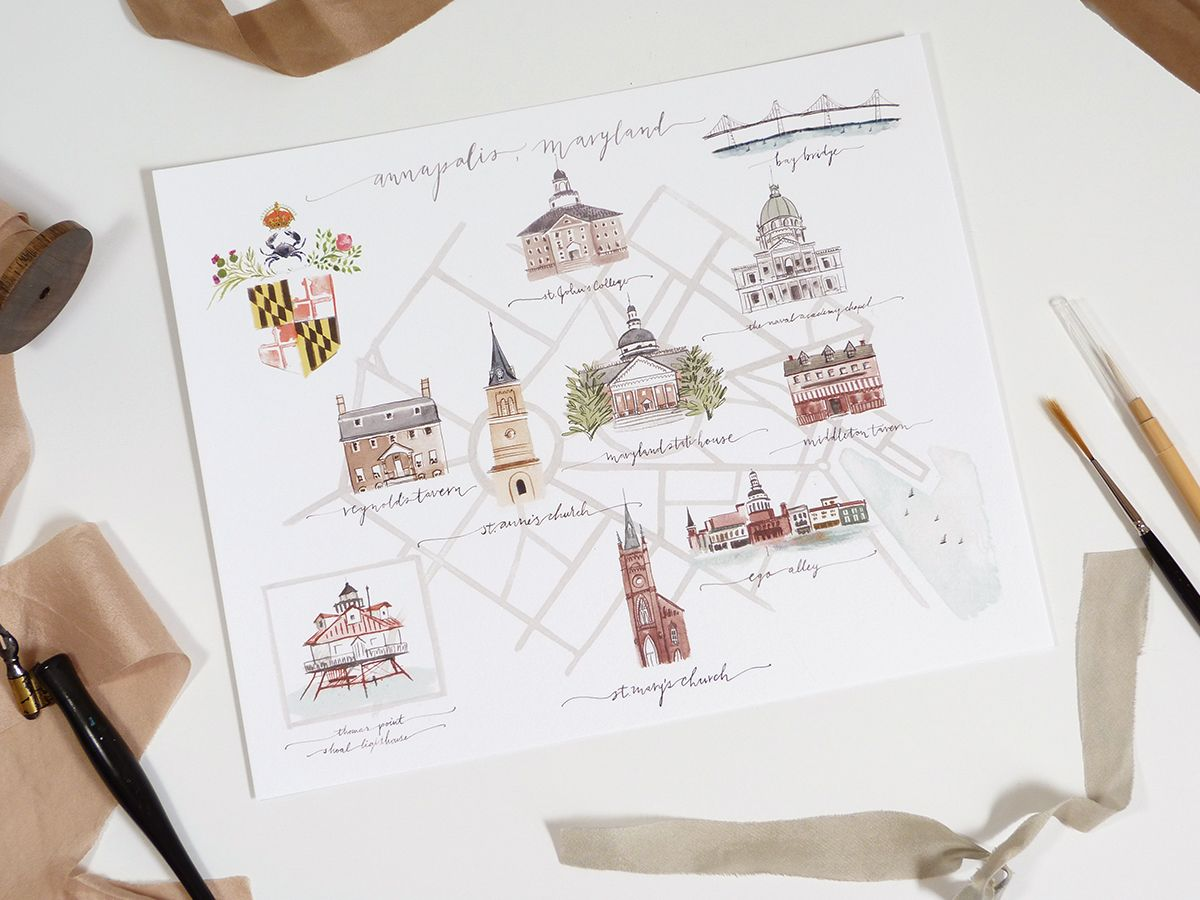 jolly edition illustrated Annapolis Maryland map illustrated by