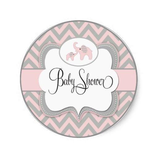 Baby Shower Elephant Stickers ~ Pink elephant baby shower sticker showers