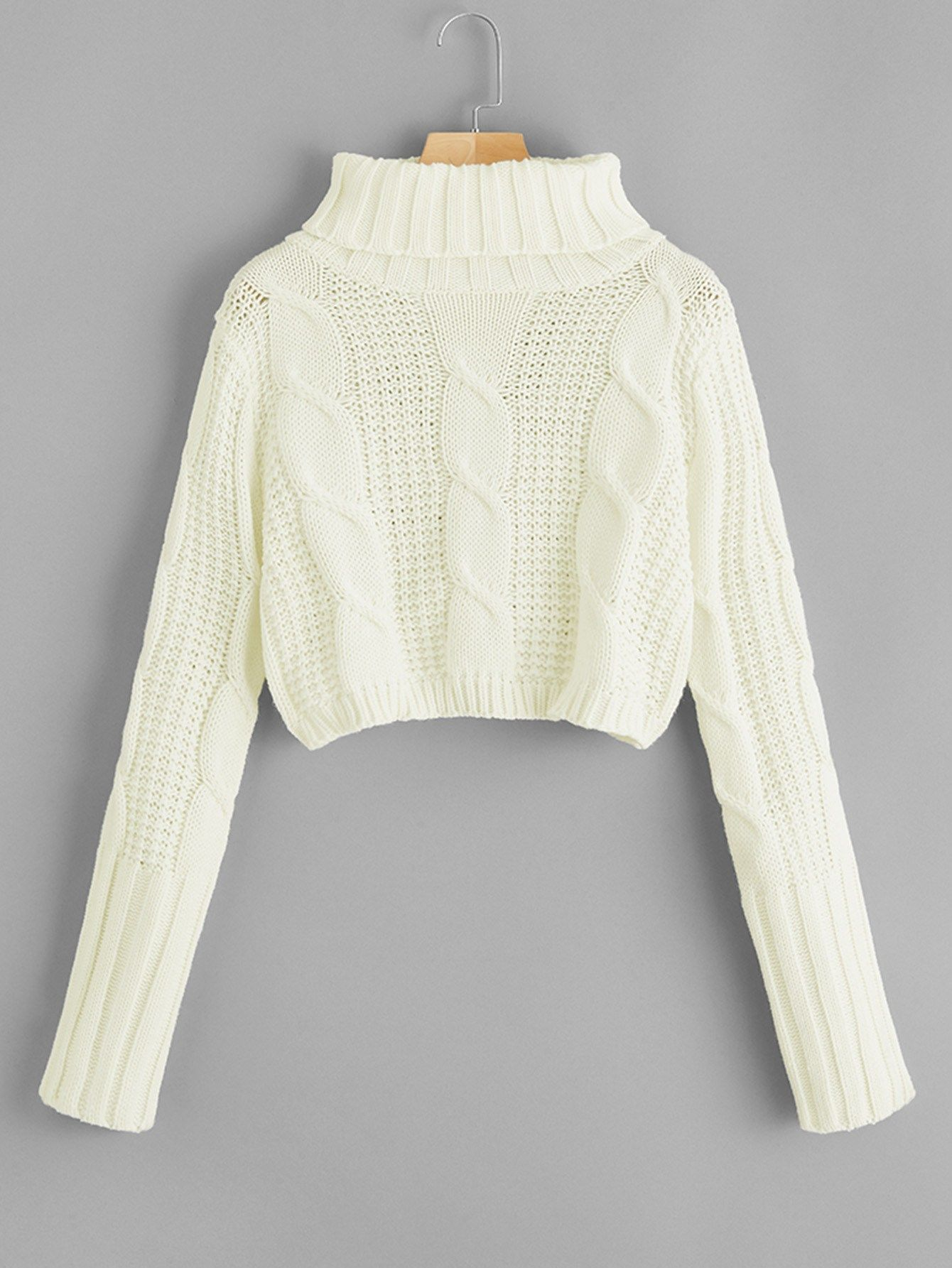 09d54d3a3aef High Neck Cable Knit Crop Sweater Cable#Neck#High | stylishdaily.com ...