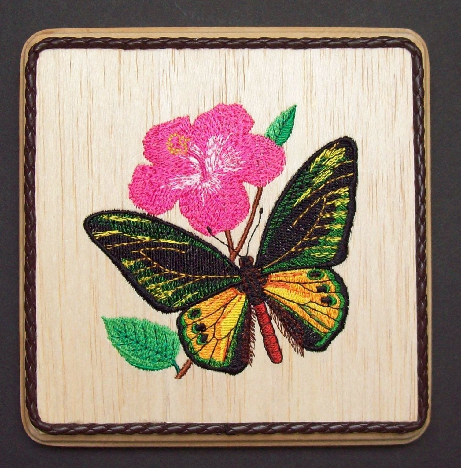 Butterfly embroidery wood art butterfly home decor butterfly wall