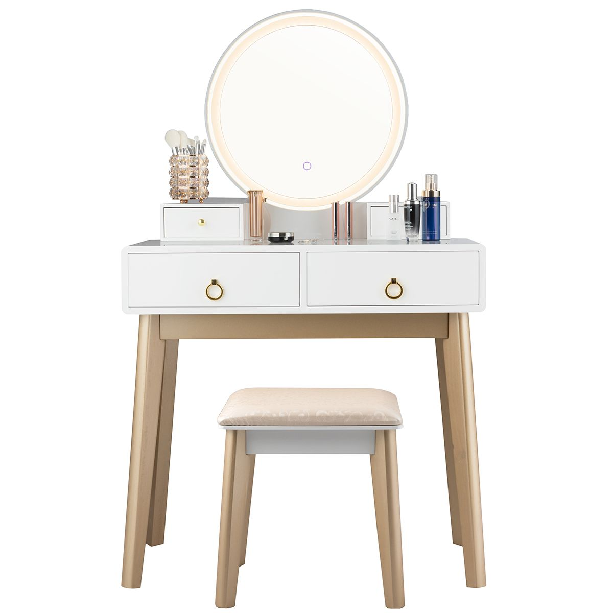 Gymax Makeup Dressing Vanity Table Set W Touch Screen Dimming Mirror Walmart Com In 2020 Vanity Table Set Vanity Table Vanity Set
