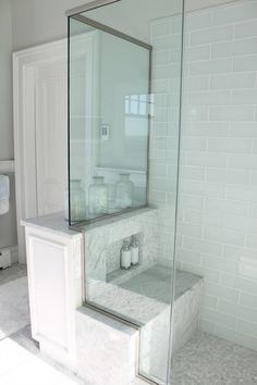 1 2 Shower Wall With Bench Seat Cottage Bathroom Glass Tile Shower Bathroom Design