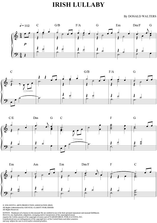 Irish Lullaby Sheet Music Preview Page 1